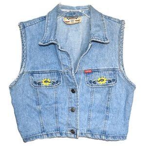 VTG 80s Denim Cropped Vest w Sunflower Detail